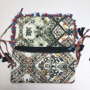 Ecote Bags - Red Patchwork Pom Pom Boho Tassel Clutch Bag